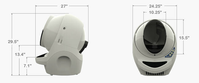 Litter-Robot-III Open Air design Dimensions